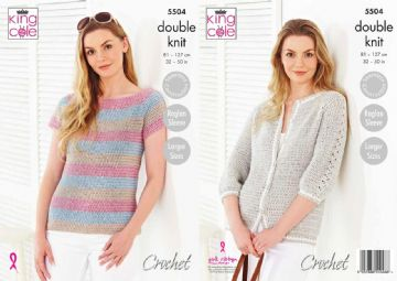 King Cole 5504 Crochet Pattern Womens Top and Cardigan in King Cole Cotton Top DK